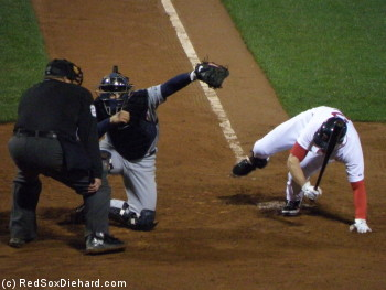 Jacoby Ellsbury ducks out of the way after being grazed by a pitch in the eighth.