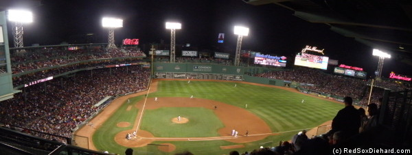 Fenway park on a cool night, as seen from the Pavilion level.