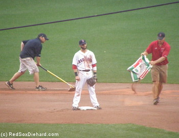 The players had to wait through numerous attempts by the grounds crew to keep the infield playable.