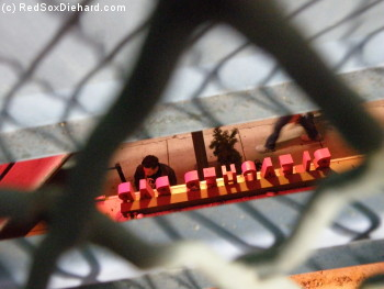 I like this picture because it's artistic, but it probably needs a little explanation. My seat was up against the back wall of the bleachers, where the wall is vented with little slats that look down on the street below.  Looking through the chain-link fence and then through the slats, I could see the back of the three-dimensional BLEACHER BAR sign.  (The picture of the flag above also shows the fence and slats.)