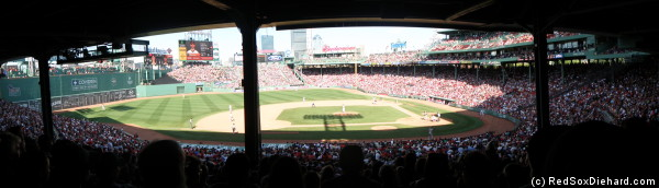 Fenway Park as seen from the shady seats on a hot afternoon.