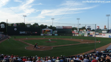 The Sea Dogs take on the Rock Cats on a sunny evening in Portland.