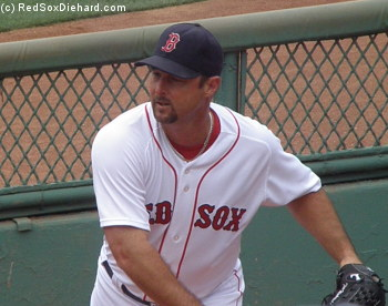 Tim Wakefield, who has pitched for the Red Sox since 1995 and is closing in on his 200th win, warms up before the game.