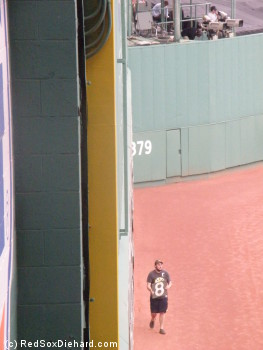 "Looking straight down the face of the Green Monster, I watched the scorekeeper come out every inning and update the manual scoreboard. Above, he returns to his post, carrying an ""8""."
