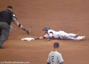 Pedroia slides safely into second and avoids Robinson Cano's tag.