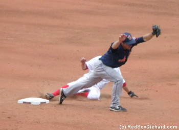 "Phantom tag: Jonathan Hee is called ""out"" on a fielder's choice, even though the stretching shortstop is about a foot from the bag."
