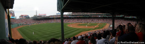 Here's a panoramic view from my seat in Section 33.