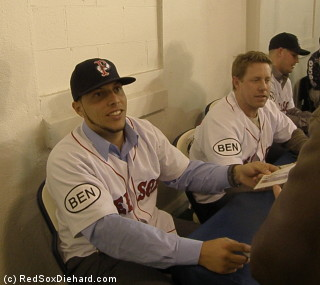 Luis Exposito and Brandon Duckworth sign autographs for fans. Exposito spent the whole 2011 season in Triple A after working his way up through the Red Sox organization.  Duckworth has seen time in the majors with the Phillies, Astros, and Royals before signing with the Red Sox last spring.
