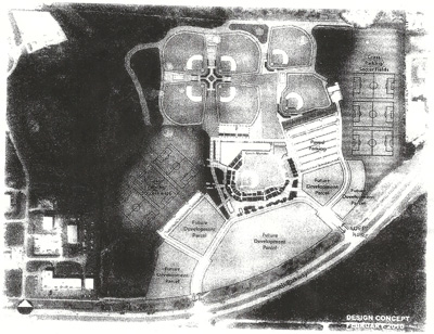 The layout of the Red Sox' new spring training complex, featuring JetBlue Park in the center, practice fields in the back, and parking lots/soccer fields on both sides.