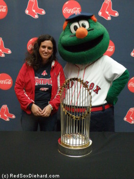 The 2007 World Series trophy was on display.