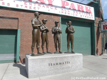 The Teammates statue sits outside of the entrance to the right field stands, on the corner of Ipswitch and Van Ness streets.