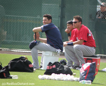 Jacoby Ellsbury, Che-Hsuan Lin, and Will Middlebrooks watch batting practice.