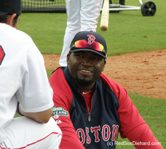 Big Papi kept his teammates entertained during batting practice. It's impossible to see his big grin and not feel good.