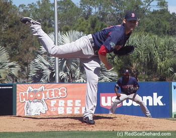 Daniel Bard pitched the second inning for the Sox.
