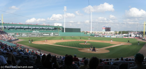 The first ever game at JetBlue Park was a contest between the Red Sox and the Northeastern University Huskies.