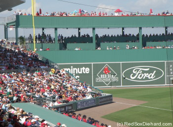 Looking down the left field line really does feel like Fenway - except for the extra-high wall with seats - covered by a creen - in the middle).