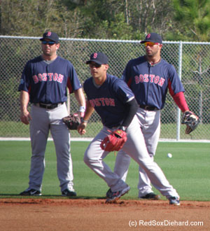 The three shortstops competing for a spot on the roster - Nick Punto, Jose Iglesias, and Mike Aviles - take turns fielding ground balls.