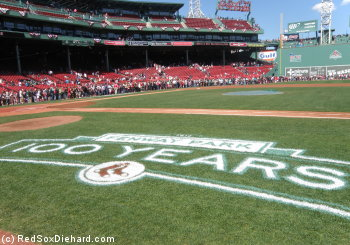 Fenway Park was ready for its centennial celebration, and fans packed the warning track for a chance to see the dugouts and Green Monster.