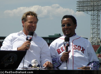 Two of my all-time favorites, Kevin Millar and Pedro Martinez, were filming a spot for the MLB Network from the right field roof.