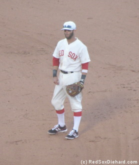 The Red Sox and Yankees wore uniforms from 1912 for the game. The vintage look suits some players better than others - like Dustin Pedroia who, minus the shades and eye black - would probably seem right at home on a ballfield in any era.