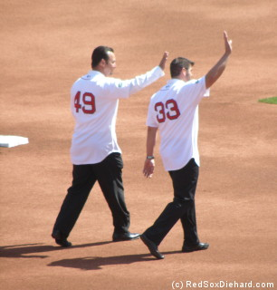 Tim Wakefield and Jason Varitek return to Fenway Park to throw out the first pitch(es).