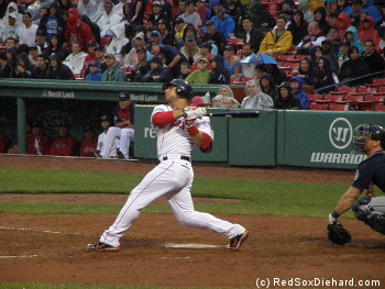 Mike Aviles had a good day at the plate.  Here, he picks up his second RBI double of the game.