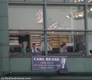 A sign was placed outside the P.A. announcer's booth in memory of Carl Beane.