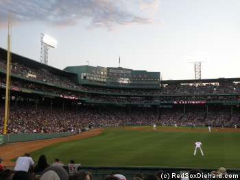 View from right field on a warm night at Fenway Park.