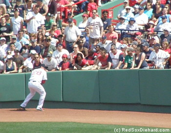Adrian Gonzalez makes the play on a ball down the right field line.