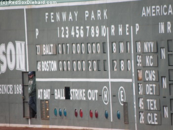 The scoreboard operator takes a break between innings.  