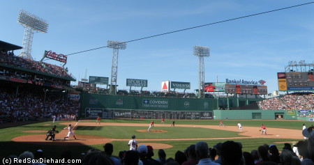 Fenway Park from the shaded seats on a hot, sticky afternoon.