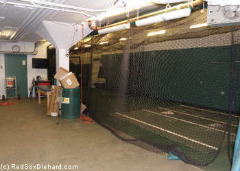 Batting cage under the stands, on the way to the home clubhouse.