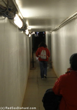 Heading out to the field from the visitors' clubhouse.
