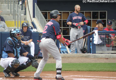 Jacoby Ellsbury steps in to lead off the game, while Jonny Gomes watches in the background.