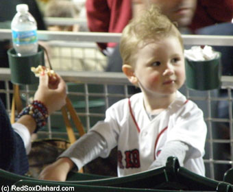 Jon Lester's wife and son were in the stands to watch him pitch.