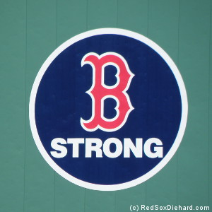 The B Strong logo was painted on the Green Monster to show support after the marathon bombings.