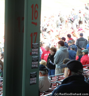 Poles in the grandstand make a nice place to stick your schedule magnet during the game.