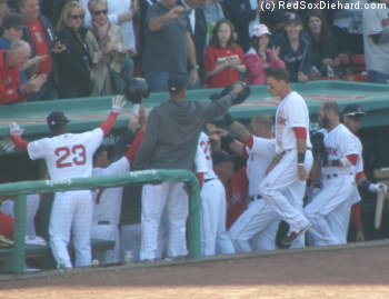 Daniel Nava is congratulated after his huge home run.