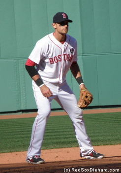"Will Middlebrooks and his teammates wore uniforms with ""Boston"" across the front instead of ""Red Sox"", like they had done in Saturday's game."