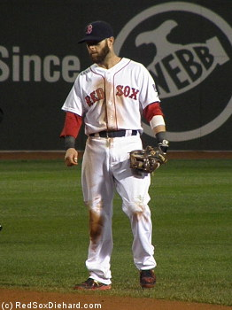 It's just another day at the office for dirt dog Dustin Pedroia.