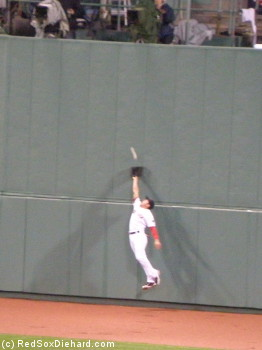 Jacoby Ellsbury leaps after what would end up a triple, but just like the rest of the game it proved to be just out of reach.