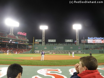Our view of the final few innings, from right behind the Red Sox dugout.