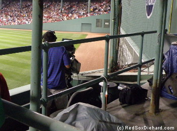 The center field camera guy points at the spot where Stephen Drew's hit landed.