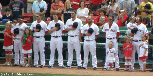 Jonathan Diaz (left) with his daughters Maddy, Lilly, and Britney; Clay Buccholz with Colbie; and Jarrod Saltalamacchia (right) with his daughters Sidney, Hunter, and Sloan.