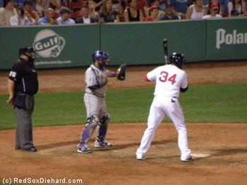 Big Papi went 1-for-2 with an RBI, and he also walked 3 times, including this intentional one in the seventh.