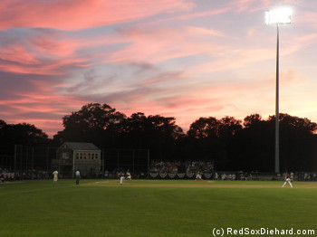 A beautiful sunset was the backdrop for the game at Whitehouse Field in Harwich.