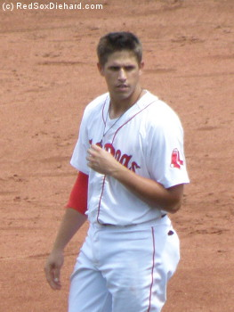 Third baseman Garin Cecchini is one of the Red Sox' top prospects. He walked twice, stole a base, and scored a run.