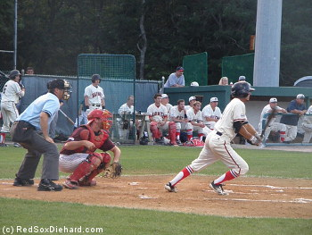 Mitch Morales of Florida Atlantic University heads to first after hitting a two-run single.