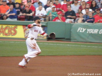 As usual, Dustin Pedroia played a flawless second base, including assists on all three outs of the second inning.