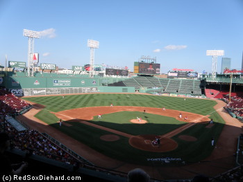 Fenway Park hosts an intra-squad game as the team waits for the playoffs to start. I'm pretty sure the Red Sox are going to win today!